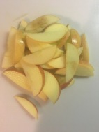 2. Slice apples in to thin slices.